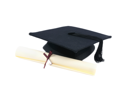 Diploma with mortarboard