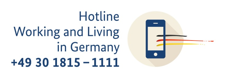 "Logo Hotline ""Working and living in Germany"""
