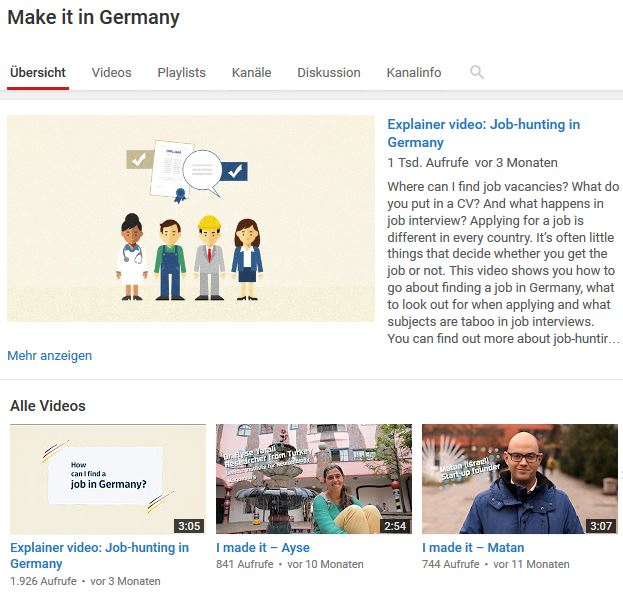 Make it in Germany sur YouTube