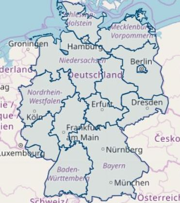 Germany map with federal states